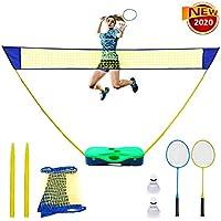 NSEN 羽毛球套装 后院羽毛球套装 便携式羽毛球网 带收纳盒底座 羽毛球网2只球拍&羽毛球2只 儿童成人用羽毛球套装 安装简单