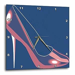 3dRose dpp_52725_3 Pink High Heel-Fashion-Shoes-Art-Wall Clock, 15 by 15-Inch