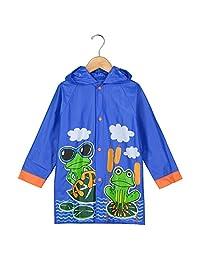 Puddle Play 男童和女童雨衣连帽有趣颜色和设计 - 幼儿和儿童
