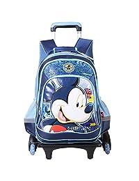 Disney 迪士尼 米奇公主儿童拉杆书包小学生男女童1-6年级卡通三轮拉杆书包 DB96055-1A米奇蓝