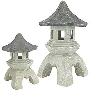 Design Toscano 亚洲装饰帕戈达灯笼户外雕像,中号 25.4 厘米和大号 43.18 厘米,两件套,树脂,双色宝石