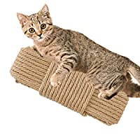 Barelove 20M 猫咪剑麻绳天然麻绳用于刮伤后树替换 - 麻绳用于修复、修复或 DIY 刮板,直径8毫米 20M