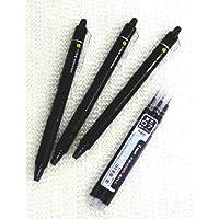 Pilot Frixion Ball Knock 可伸缩可擦中性笔,精细笔尖,- 0.7 Mm - 黑色笔芯- 3 和 3 件套超值笔替换装