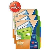 Avery 大 TAB 版插入式双袋塑料个分隔器,5多色标签,1套(11906)