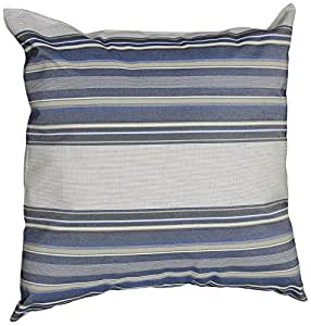 Mansion Multi-Striped Outdoor Pillow Navy/Gray/and White Multi 18-Inch