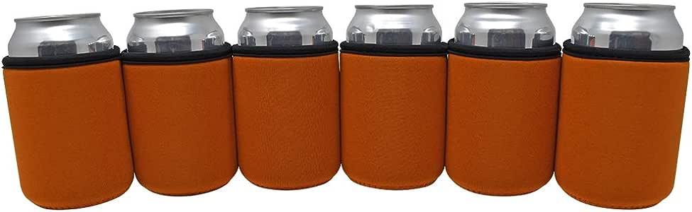 TahoeBay 高级罐套 – 5 毫米厚氯丁橡胶啤酒冷藏杯 – 空白饮料冷却器 德克萨斯橙色 12oz