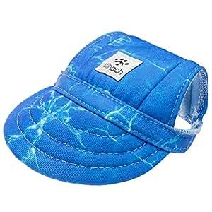 Mihachi 狗狗太阳帽,宠物棒球帽,狗狗运动帽/遮阳帽,带耳孔和下巴带,适合中小型犬 海洋篮(Ocean Wave) 中