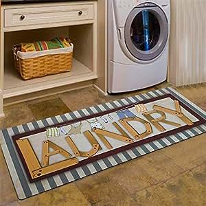 "Abreeze 复古地毯 适用于洗衣房 防滑 橡胶垫 地毯 耐用地毯 防水 厨房垫 (50.8 厘米 x 121.92 厘米,1 件) A04 20""x48"""