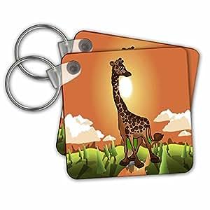 快乐长颈鹿 - 钥匙扣,5.72 x 5.72 厘米,两件套 (kc_5733_1)