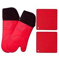 硅胶烤箱手套和锅垫(4 件套)重型烹饪手套,厨房计数器*三脚垫——高级耐热,防滑纹理手柄 红色 Pot Holder&Oven Mitts PSOM-MIYL-OP01