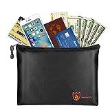 MoKo 防火文件袋,A4 尺寸 35.06 厘米 × 24.89 厘米防火防水信封文件袋*拉链现金袋用于保护贵重物品、护照、文件、现金、珠宝 黑色 B5 Size