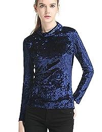 gbiuteecq 女式休闲修身长袖高领 T 恤弹力舒适 crushed 天鹅绒上衣衬衫