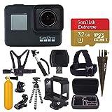GoPro HERO7 黑色数码动作相机带 4K 高清视频 12MP 照片,SanDisk 32GB Micro SD 卡,硬壳 - Gopro Hero 7 配件包