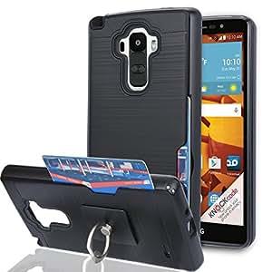 LG G4 Stylus 手机壳,LG G Stylo 手机壳(不适合 LG G4)带手机支架,Ymhxcy [信用卡插槽夹][拉丝纹理]双层防震保护套适用于 LG LS770-LCK LCK-Black