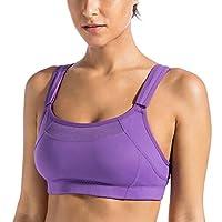 SYROKAN 高强度防震女士运动文胸 双层无垫罩杯 网眼透气无钢圈内衣大码跑步 深紫色 100D