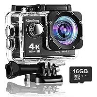 Gnolkee 4K WiFi 动作摄像机 16GB TF 卡,16MP 水下摄像机 170 广角运动摄像机,带遥控器,2 个电池,24 个配件安装套件 - 20 个装
