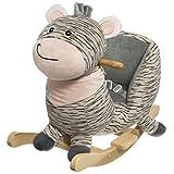 Bieco 74000200 毛绒摇椅动物斑马,儿童摇椅,带木框,*带和靠背,摇晃毛绒玩具,适合 9 个月以上宝宝,灰色/黑色