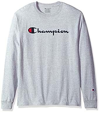 Champion 男式 经典针织图案长袖T恤, Light Steel, 2X Lg