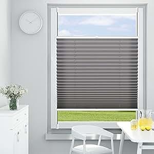 OUBO 百叶窗褶裥夹紧固定器,无需钻孔,视野遮蔽,窗户夹紧托架 煤灰色 50 x 200 cm 13588_01