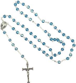 恶魔礼物重要 6 毫米意大利水晶念珠 | 6 种颜色 | 切面珠 | 奇迹徽章*摆饰 | 基督教祈祷配件