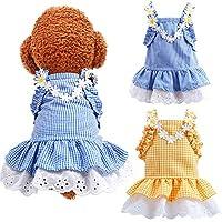 DOGGYZSTYLE 2 件装夏季狗狗连衣裙女孩小猫格子公主裙派对生日宠物背心衣服适合中小型犬