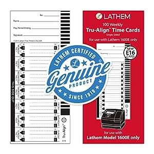 Lathem Tru-Align 时钟 Time Cards 不适用