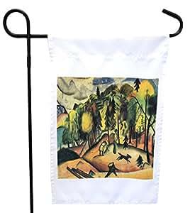 Rikki Knight August Macke Art 森林公园或花园旗帜,27.94 x 27.94 cm 图片,30.48 x 45.72 cm