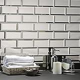 Abolos Reflections 地铁 7.62 厘米 x 15.24 厘米斜面光泽光滑玻璃反光镜装饰浴室后壁瓷砖 银色 112 Tiles (Case) WHSREF0306-SI[C]