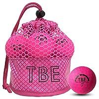 TOBIEMON高尔夫球 TOBIEMON 可视性超群! 荧光垫彩色高尔夫球 R&A公认球 2片 12球装 附原创网布