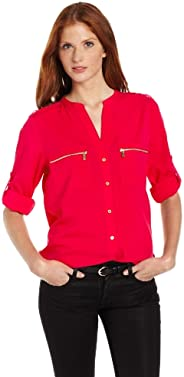 Calvin Klein 女士 Modern Essential 拉链前部纽扣衬衫