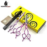 HUNTERrapoo 猎人雷柏 专业理发剪美发用剪刀 刘海剪 牙剪 理发师用打薄剪 (6 寸, 粉色)