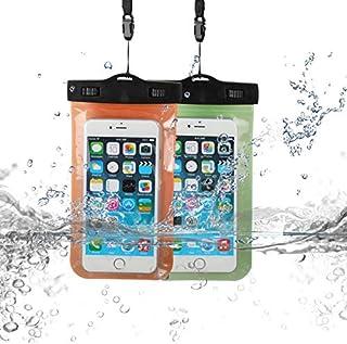 TS LLC 6.5 英寸通用防水手机袋手机干燥袋透明水下保护袋适用于 iPhone 11 Pro Max Note 10 Plus(黄色) *+橙色