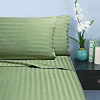 Elegant COMFORT ® 抗皱不褪色1500支–锦缎条纹埃及长绒棉品质奢华丝滑软床单4件套,高达 cm 的袋深,所有尺寸和颜色可选