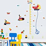 BAYCHEER Height Measurement Growth Chart Tree Underwater world cartoon Wall Decal Decor Wall Stickers Peel and Stick Removable Super for Nursery Playroom Children's Bedroom Living Room, 60x90cm