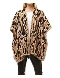MIRMARU 女式柔软保暖无袖豹纹迷彩图案前开襟羊毛衫背心