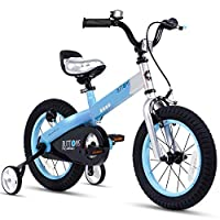 RoyalBaby Matte Button Kids' Bike with Training Wheels Perfect Gift for Kids. 12 Inch wheels, Blue