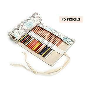 帆布铅笔包装,Jewelvwatchro 纯手工制作,旅行绘画彩色铅笔卷整理器,适合艺术家,适合成人、学生和儿童(不含铅笔) 48Holes 埃菲尔铁塔