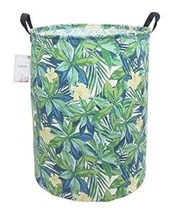 CLOCOR 大型储物篮,帆布织物防水储物箱,可折叠洗衣篮,适合家庭、儿童、玩具收纳 绿色叶子