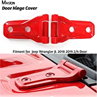 MASION 车门铰链盖装饰引擎盖铰链盖铰链盖保护套适用于 Jeep 牧马人 JL 2018 2019 双门 4 门 ABS 红色
