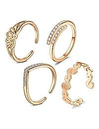 JFORYOU 4 件可调节女士脚趾戒指花箭头带开尾戒指女士沙滩脚珠宝套装 4pcs -Rose Gold