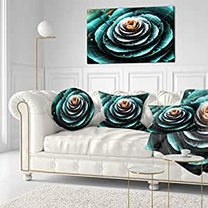 "Fractal Flower 透明蓝绿色数字艺术 帆布印刷艺术墙照片艺术作品印刷品 绿色 40x20"" PT11836-40-20"