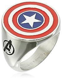 Marvel 漫画男士不锈钢珐琅美国队长戒指 银色