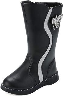 DADAWEN 女童防水水钻蝴蝶侧拉链毛皮衬里高筒冬季雪地靴(幼儿/小童/大童)