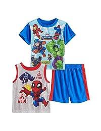 AME *英雄幼童男孩上衣和短裤睡衣套装(尺码 4T)蓝色