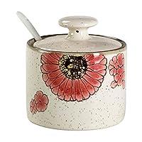 CHOOLD Countryside 花卉鸟陶瓷香料罐带盖勺调味盒调味料罐 香料架 适用于厨房乔迁礼品 红色花朵