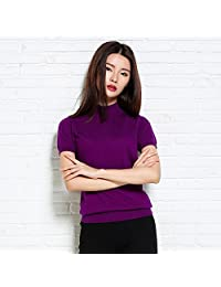 夷榀 2018夏装修身套头短袖针织衫女半高领纯色半袖短款上衣T恤半袖