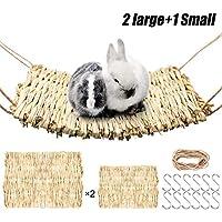 3 件套草垫编织稻草垫床上用品编织床垫咀嚼玩具床适用于小动物豚鼠,丝风,仓鼠,兔子(2 件大垫和 1 件小垫)