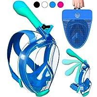 全脸*面罩可折叠 UV Easybreath - 2.0 全景 180 海景浮潜面罩 GoPro 相机架 - 水肺面罩防雾成人和青少年(男女通用)