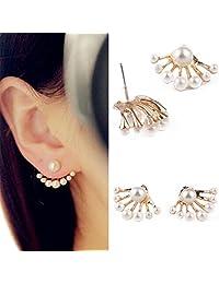 1双装女式可爱*耳环珍珠耳钉正面和背面 earbob