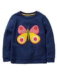 rjxdlt 儿童女孩运动衫幼儿女孩可爱运动衫小女孩圆领套头衫